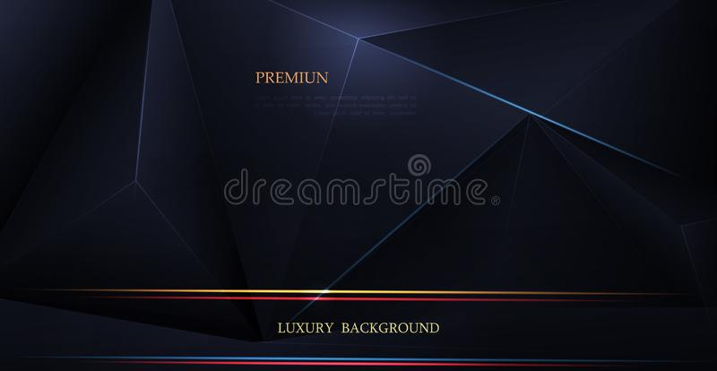Vector low polygon silver, black premium background. Abstract luxury polygonal and silver, gold dark blue triangle line design royalty free illustration