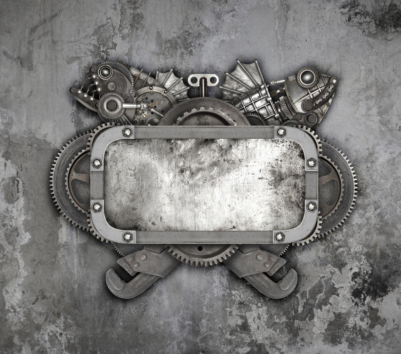 Metal frame and old auto spare parts car stock photo