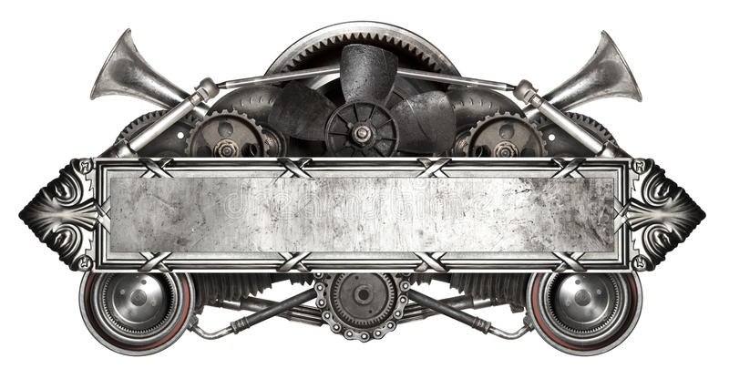 Metal frame and old auto spare parts car isolated royalty free stock photos