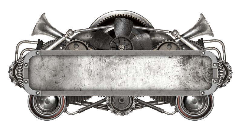 Metal frame and old auto spare parts car isolated stock photography