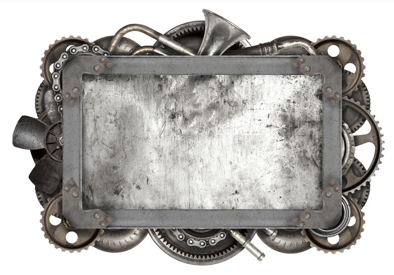 Metal frame and old auto spare parts car royalty free stock image