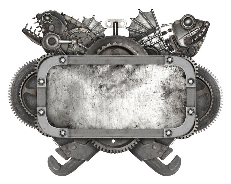 Metal frame and old auto spare parts car isolated royalty free stock images