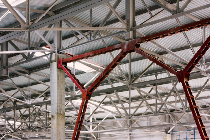 The metal frame. Of the production facilities of the roof royalty free stock image