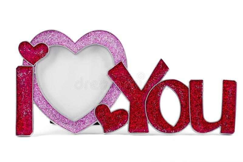 Metal frame shaped I LOVE YOU stock images