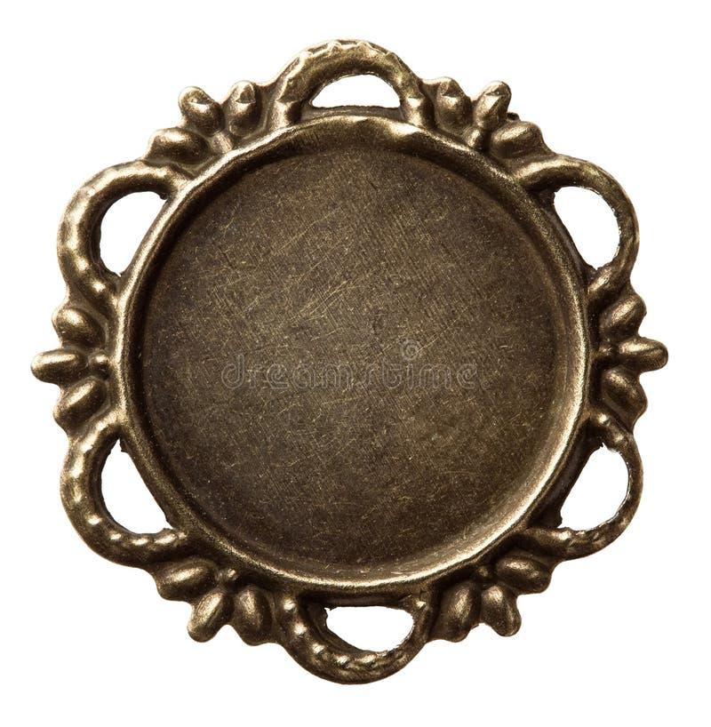 Metal frame. Vintage brass metal frame, isolated stock photos