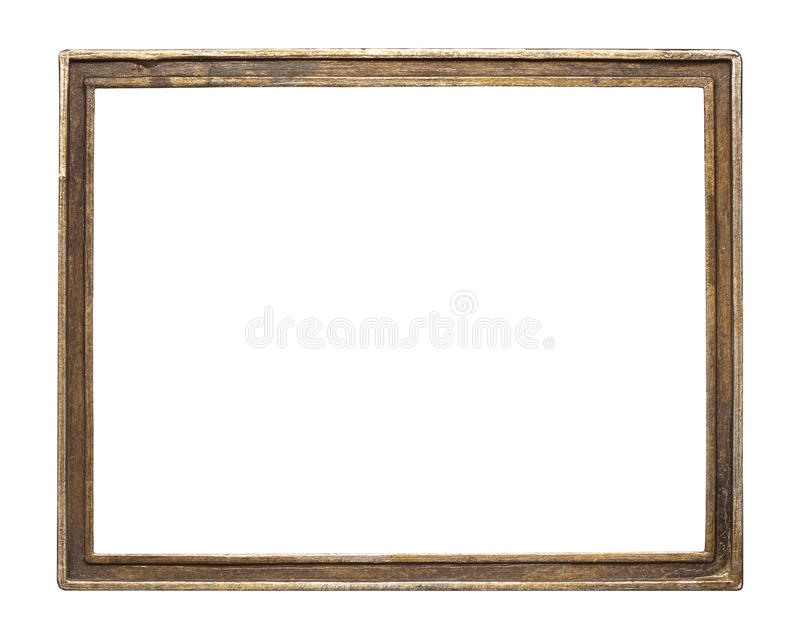 Metal frame. Vintage brass metal frame, isolated royalty free stock image