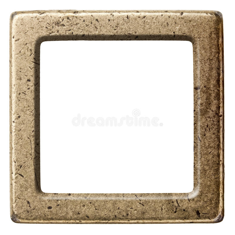 Metal frame. Vintage brass metal frame, isolated royalty free stock images