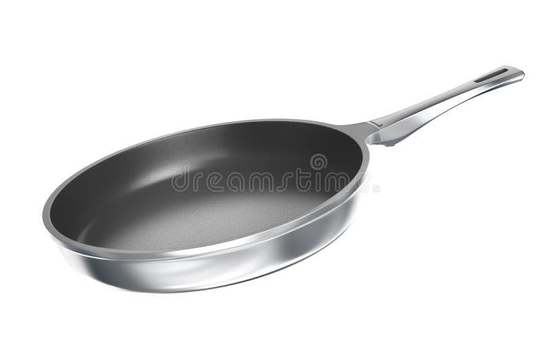 Metal frying pan with ceramic coating. 3d illustration stock illustration