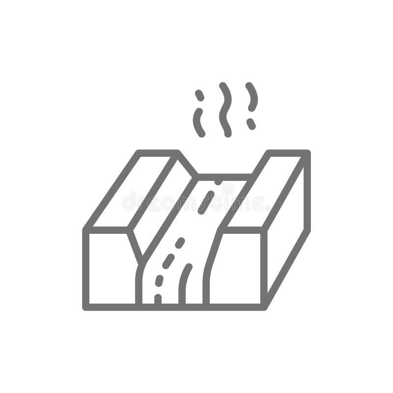 Metal fundido, lava, magma, línea icono de la industria de la metalurgia ilustración del vector