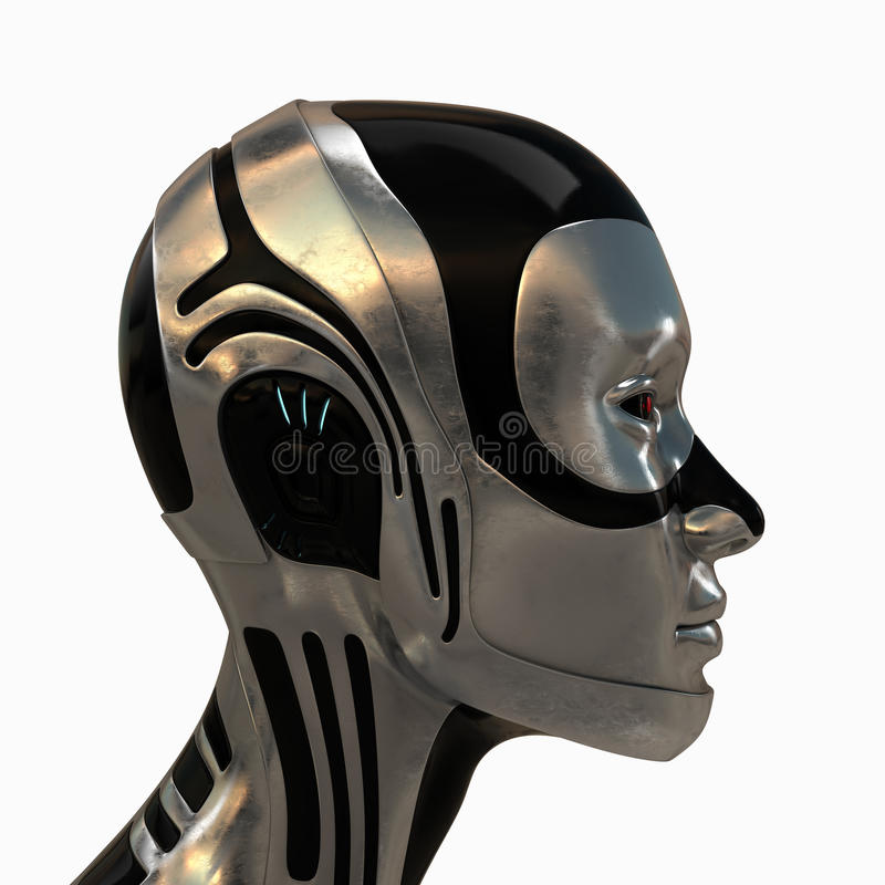 Metal futuristic robotic head stock illustration