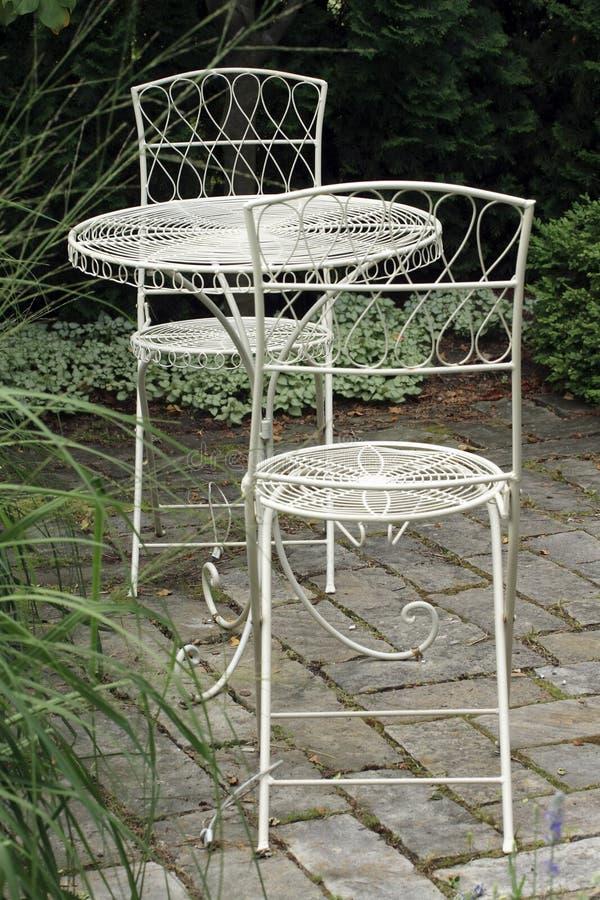 Metal garden furniture stock photos