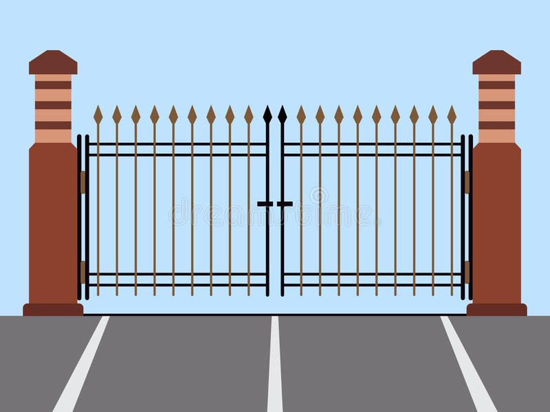 Metal gate flat vector illustration vector illustration