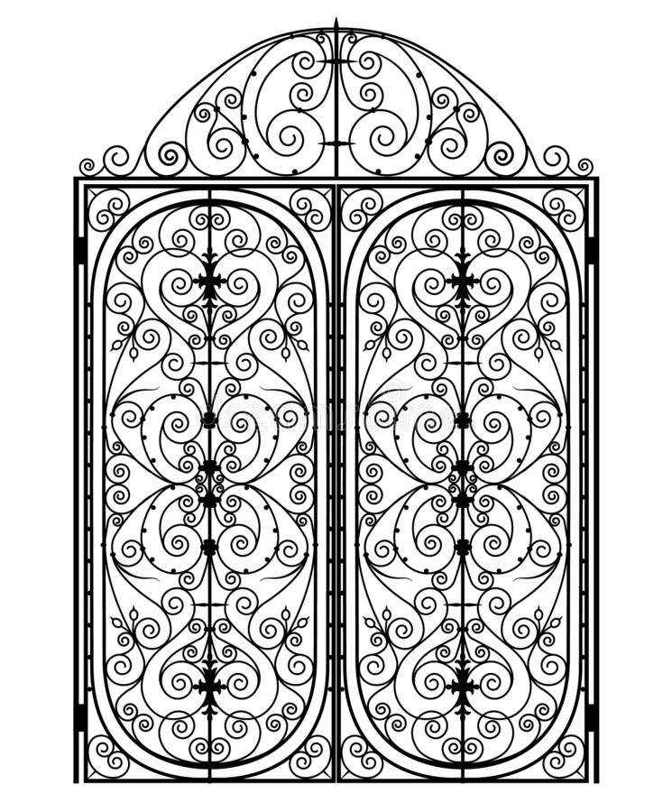 Black metal gate. Metal gate with forged ornaments on a white background stock illustration