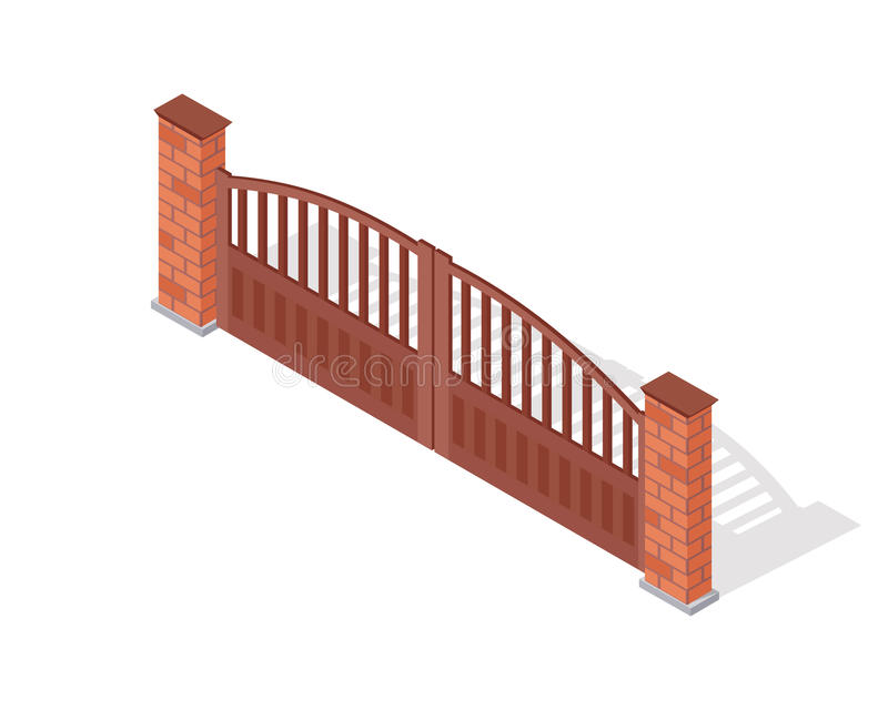 Metal Gate Vector Icon In Isometric Projection. Metal gate vector icon. Steel car entry with brick pillars isometric projection vector illustration isolated on vector illustration
