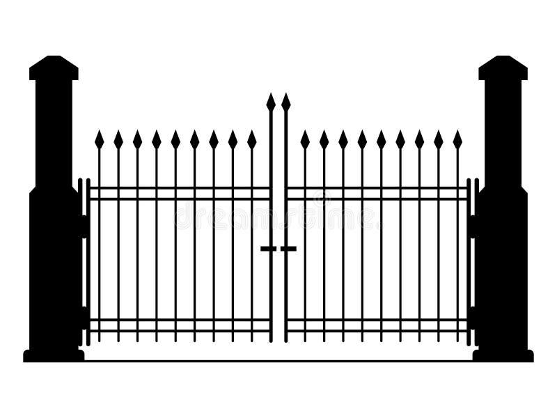 Residential gate design vector : Metal gate vector illustration stock