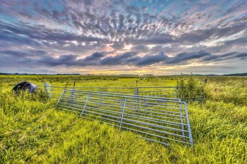 Metal gates in farmland stock photo