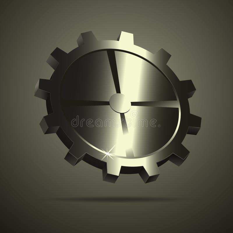 Metal gear on the background. Vector illustration stock illustration