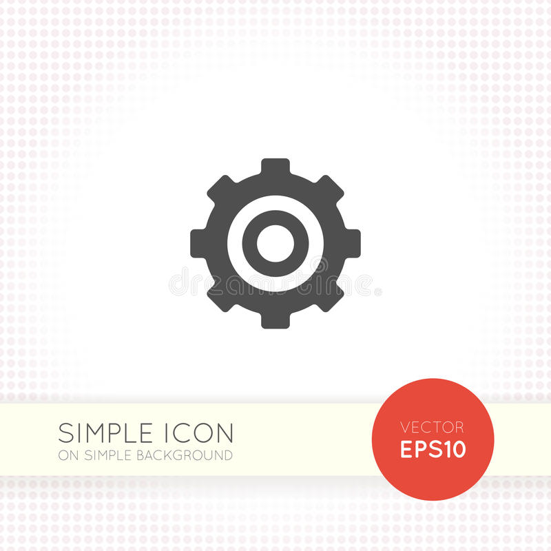 Metal gear flat icon for user interface as settings button royalty free illustration