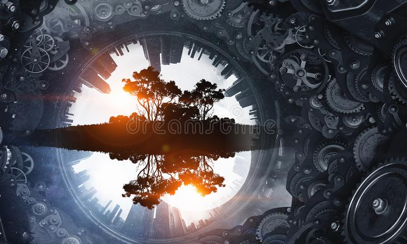 Metal gear mechanism. Cogwheel and gear mechanism and round cityscape stock images
