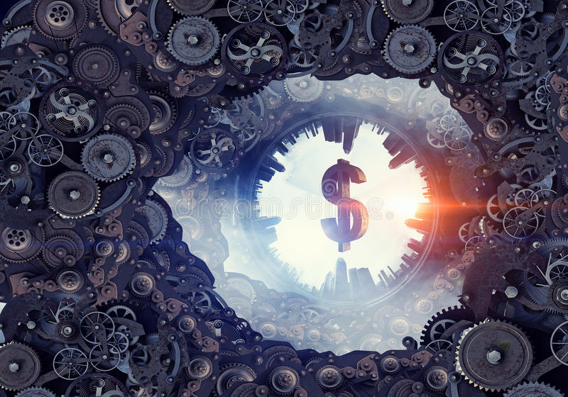 Metal gear mechanism. Conceptual image of construction and production with gears and cogwheels royalty free stock photo