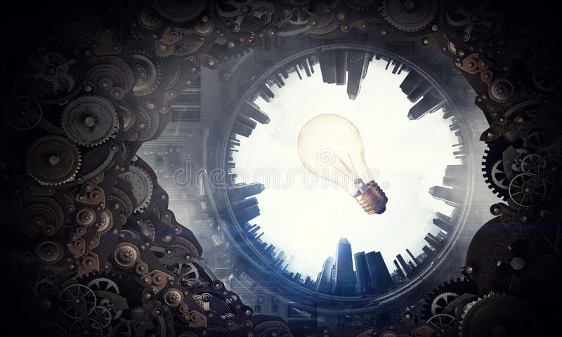 Metal gear mechanism. Conceptual image of construction and production with gears and cogwheels royalty free stock image