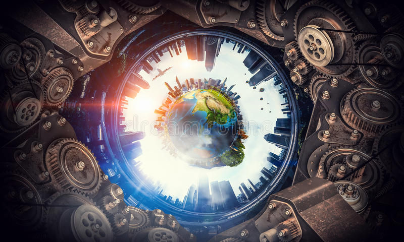 Metal gear mechanism. Conceptual image of construction and production with gears and cogwheels. Elements of this image are furnished by NASA stock image