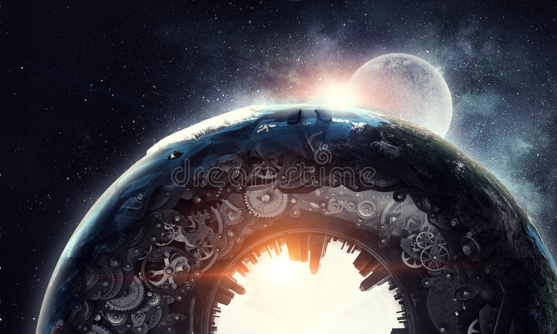 Metal gear mechanism. Conceptual image of construction and production with gears and cogwheels. Elements of this image are furnished by NASA royalty free stock image