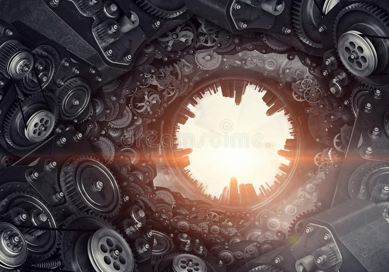 Metal gear mechanism. Mixed media. Conceptual image of construction and production with gears and cogwheels. Mixed media stock image