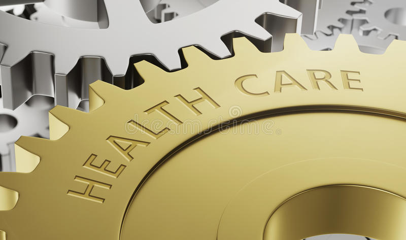 Metal gear wheels with the engraving Health Care. 3d render stock illustration