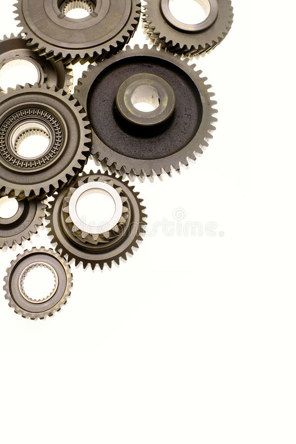 Metal gears. Over plain background. Copy space royalty free stock photos