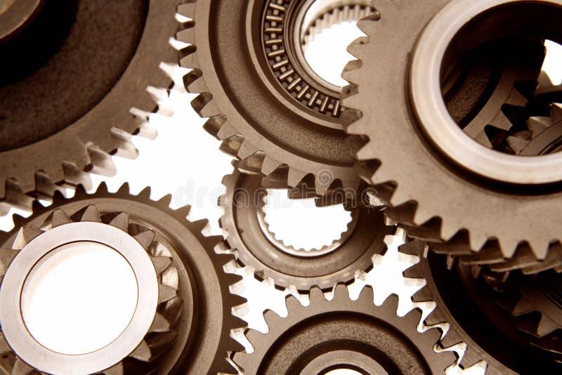 Metal gears. Closeup of assorted metal gears royalty free stock image