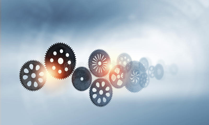 Metal gears and cogwheels royalty free stock photography