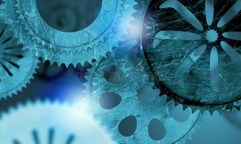 Metal gears and cogwheels stock illustration