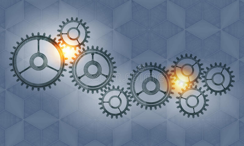 Metal gears and cogwheels stock image
