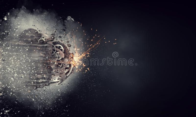 Metal gears connected. Mixed media. Gears and cogwheels mechanism floating in air. Mixed media stock photos