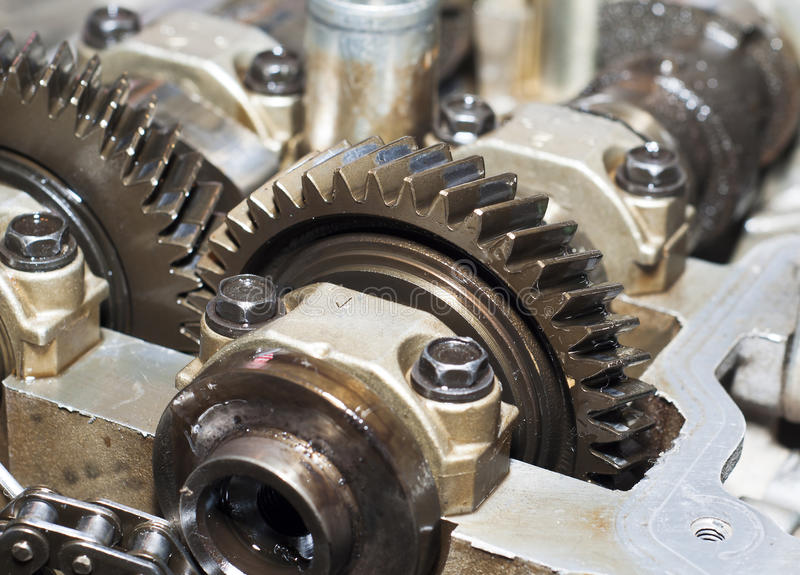 Metal gears group complex industrial mechanism royalty free stock photos