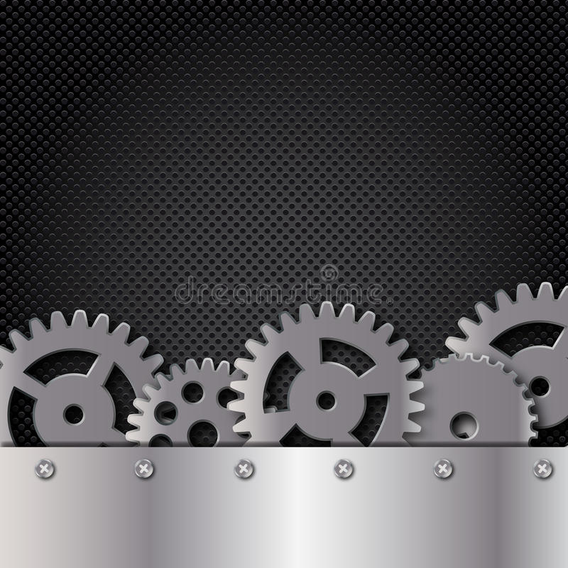 Download Metal And Glass Background With Frame And Gears Stock Illustration - Image: 24350370