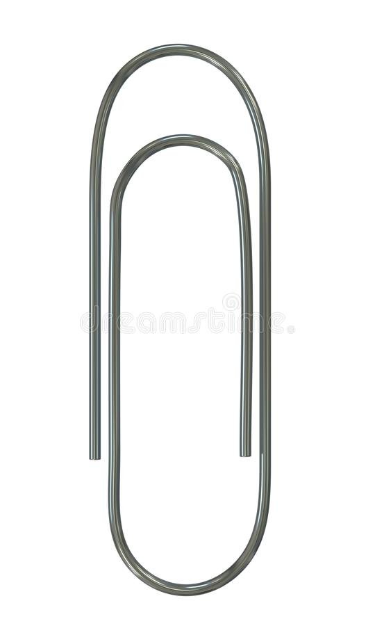 Metal glossy paperclip. On white royalty free stock images