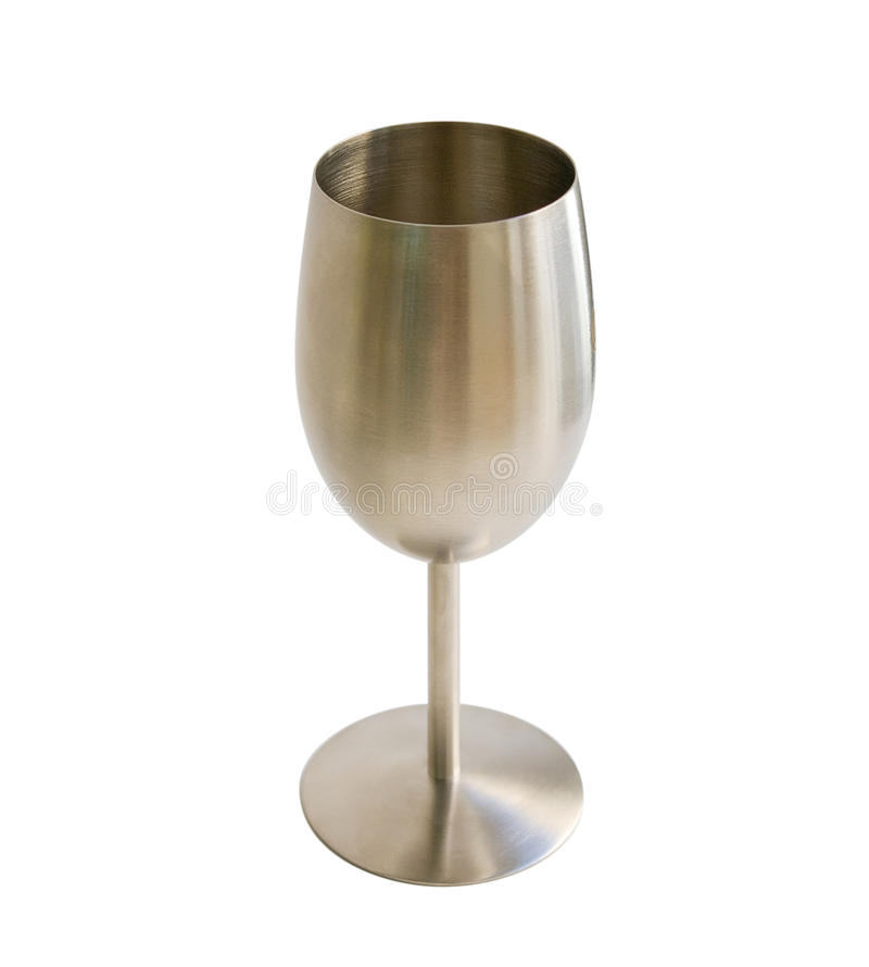 Metal goblet for wine isolated on white stock image