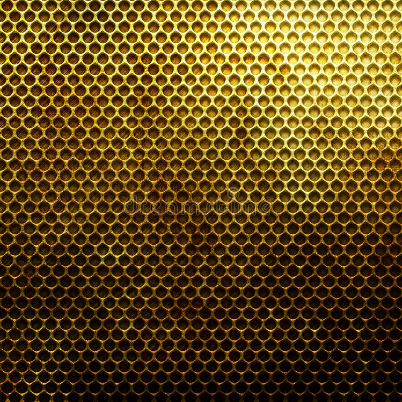 Metal gold grid. Old damaged rusty metal grid background stock photos