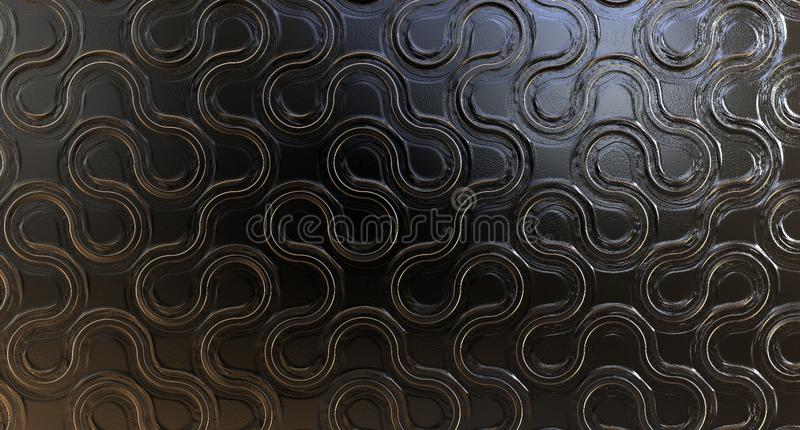 METAL WITH GOLD TEXTURE. 3d metal texture with 24k gold lines stock illustration