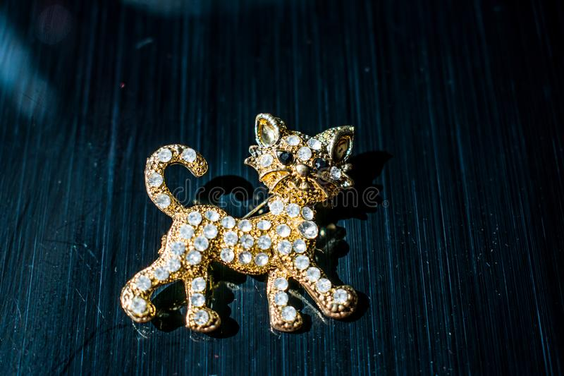 Metal Golden brooch in the form of a kitten or a tiger cub with white stones, rhinestones. On a black glossy, reflective backgroun stock images