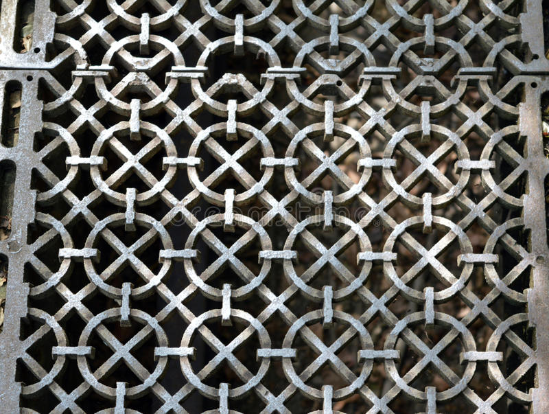 Metal grating. Patterned metal grating for drainage stock image