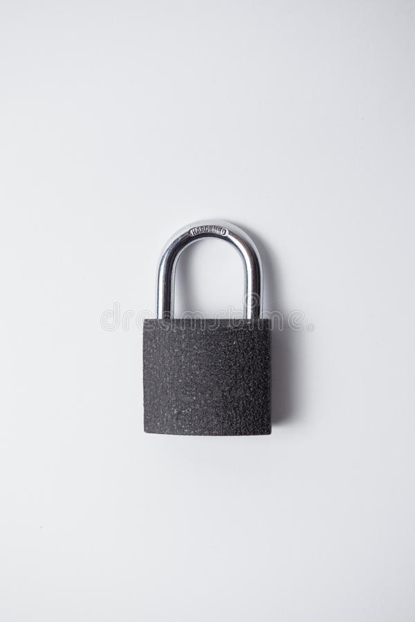 Metal, grey and closed padlock stock photos