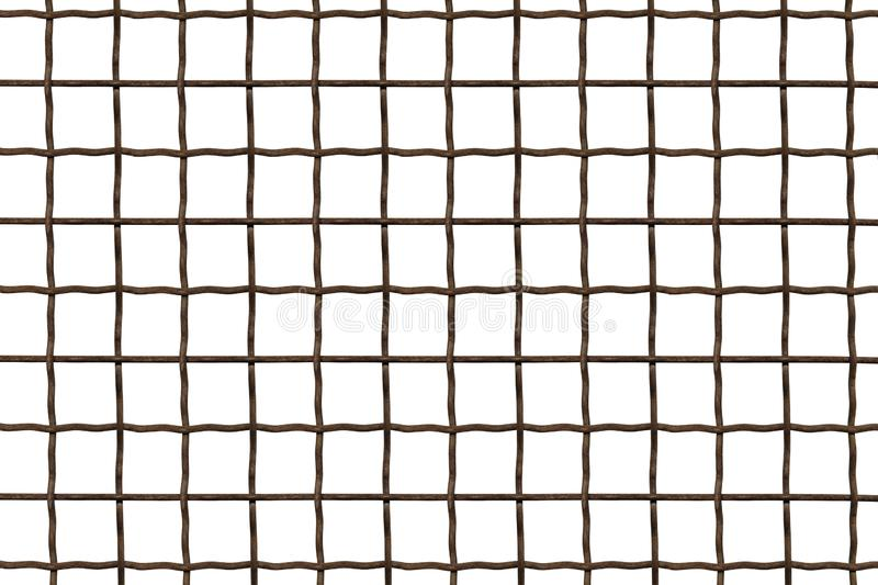 Metal grille. Wire fence isolated on white background. Steel, iron, metal mesh on a white background, a square cell royalty free stock photos
