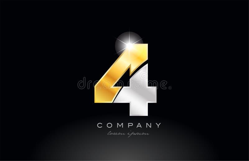metal gris de plata del oro del número 4 en logotipo negro del fondo stock de ilustración