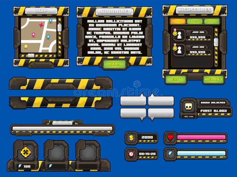 Metal gry GUI set ilustracja wektor