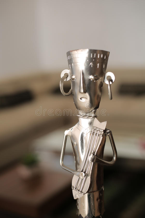 Metal Handicraft Musician. Indian metal handicraft as musician for Interior decoration royalty free stock photo