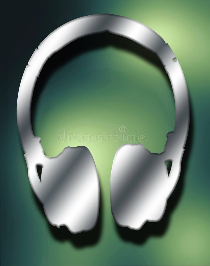 Metal headphone in green and yellow background. Amazing Metal headphone in green and yellow background.can be used for your logo royalty free stock photo