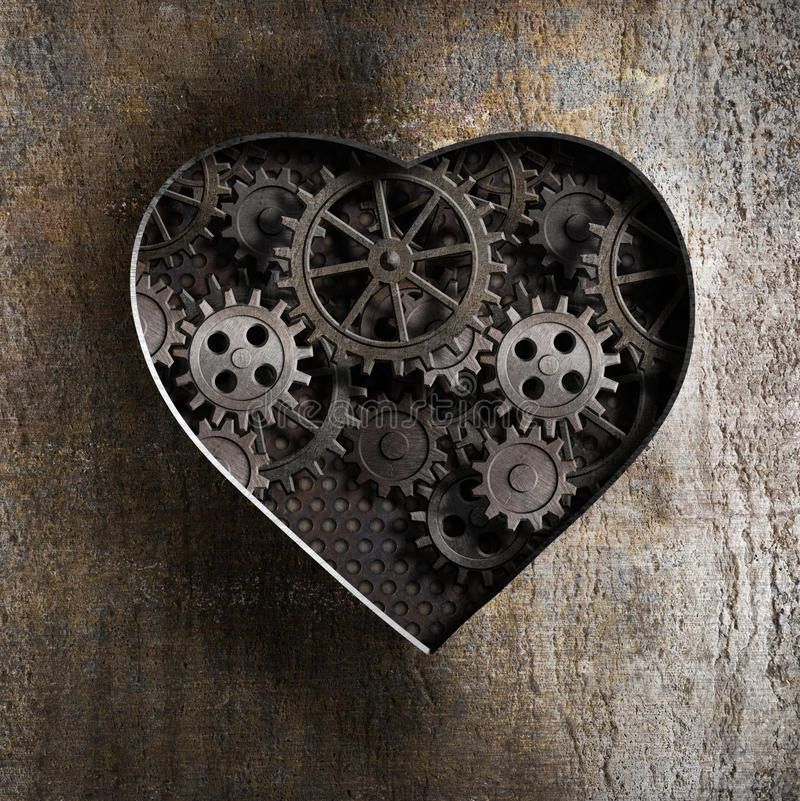 Free Metal Heart With Rusty Gears Stock Photo - 33521660